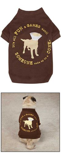 """Dog is Good® Fun & Games Dog Tee~ Beware the dreaded cone! Our playful dog tee has a funny screen-printed message that reads: """"It's all fun and games until someone ends up in a cone.""""  Every Purchase Funds Food and Care for Rescued Animals."""