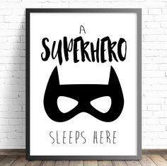 Boys Superhero Nursery Bedroom Wall Art Print - A Superhero Sleeps Here Print - The Kids Print Store