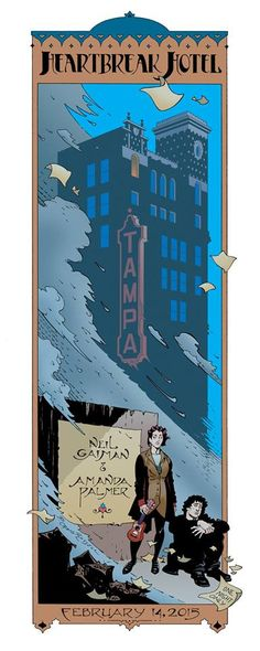 """craig russell's beautiful print for amanda palmer & neil gaiman's """"Heartbreak Hotel"""" one night stand at the Tampa Theater, florida, on feb 14th, 2015."""