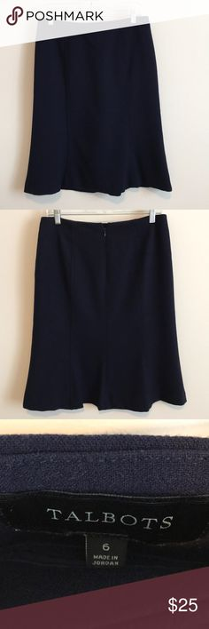 """Talbots Navy Blue Tulip Skirt Talbots navy blue skirt. Seamed, gored panels flare at the the bottom in """"tulip"""" style. Center back zipper with hook and eye closure. Polyester, rayon and spandex blend fabric; polyester lining. Machine wash.   Has hanger mark where it has been clipped and very light pilling. No stains, holes or tears. Talbots Skirts A-Line or Full"""