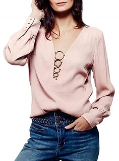 Fashion Solid Deep V Neck Long Sleeve Pullover Blouse OASAP.com