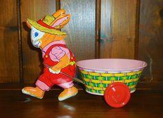 "Vintage J. Chein Tin Easter Bunny Rabbit Pulling Cart Basket 1950's Litho 10"""