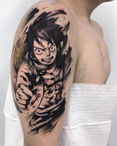 Luffy - One Piece Tattoo Forarm Tattoos, Leg Tattoos, Body Art Tattoos, Sleeve Tattoos, Cartoon Tattoos, Anime Tattoos, Monkey D. Luffy, Tatuagem One Piece, One Piece Tattoos