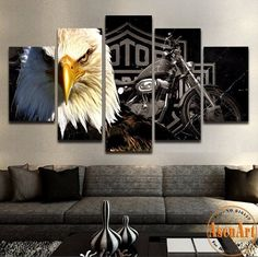 Love Harley Davidson Motorcycles? Your friends and family will be awed by this stunning Harley Davidson Freedom Eagle Painting on your wall! Epic in any setting, this 5 piece work of art will be the c