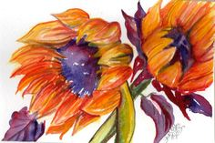 Original Sunflowers Watercolor Painting by SharonFosterArt, $25.00