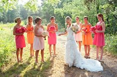 cute candid of bride with her bridesmaids