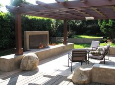 Modern Fireplace Pergola  Modern Landscaping  Grounded Landscape Architecture and Planning  Encinitas, CA