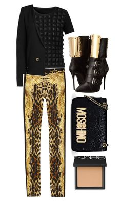 """""""Black+ Gold"""" by cherieaustin ❤ liked on Polyvore featuring Giuseppe Zanotti, Roberto Cavalli, Burberry, Anthony Vaccarello, Moschino and NARS Cosmetics"""