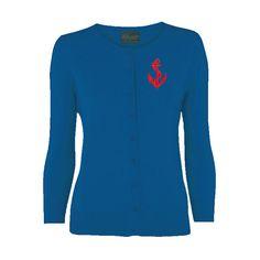 Rockabilly Royal Blue Anchor Cardigan All Sizes by VivaDulceMarina, $41.95