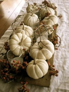 déco d'automne en blanc avec des citrouilles