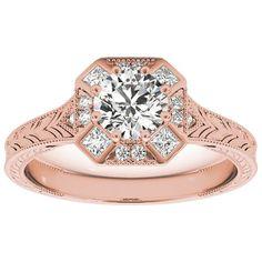 Transcendent Brilliance Vintage Style Square Halo Diamond Engagement Ring 3/4 TDW (Rose - Size 6.75), Women's, Pink
