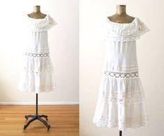 White Dress  70s Dress  White Lace Dress  Bohemian by MILKTEETHS