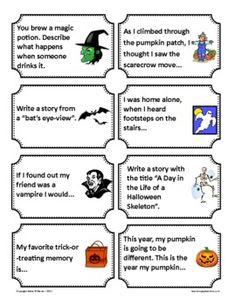 Halloween Writing Prompts / Journal Starters - 64 idea cards!!