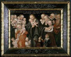 Jesus blessing the children (oil on panel) Art Prints by Lucas, the Elder Cranach - Magnolia Box