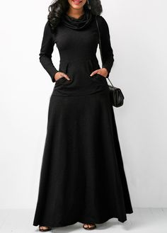 Cowl Neck Long Sleeve Black Maxi Dress | Rotita.com - USD $33.08