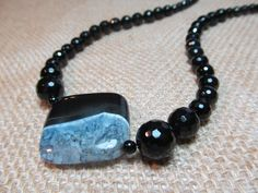Black Onyx Agate Gemstone Necklace by 2 Girls by 2GirlsForever, $39.95