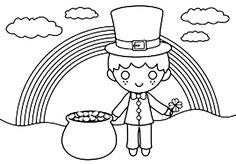 Patrick's Day coloring pages for kindergarten, preschool, firstgrade. Patrick's day coloring pages for kids. Online Coloring Pages, Coloring Pages For Kids, Under The Rainbow, Have Some Fun, Free Coloring, St Patricks Day, Cute Kids, Kindergarten, Saints