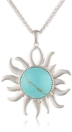 Sterling Silver Turquoise Sunshine Pendant Necklace, 18\ on http://jewelry.kerdeal.com/sterling-silver-turquoise-sunshine-pendant-necklace-18""