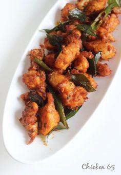 chicken 65 a popular hot Indian chicken appetizer Indian Chicken Recipes, Veg Recipes, Indian Food Recipes, Asian Recipes, Cooking Recipes, Vegetarian Recipes, Snacks Recipes, Yummy Snacks, Appetizer Recipes