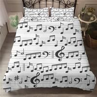 Music Notes Rhythm Artwork Bedding Set Of Duvet Cover & Pillowcase. Easy to Use: Hassle-free hidden zipper for the duvet cover & envelope closure for the pillowcase. duvet cover: 172 about x + pillowcase: 50 about x Duvet Bedding Sets, White Bedding, Linen Bedding, Bed Linen, Gift For Music Lover, Music Gifts, Piano Art, Notes Design, Marble Pattern