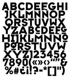 Typeface Six - Tipografía creada por el diseñador inglés Neville Brody y publicada por la fundición FontFont en 1991 La geometría y rigidez de los trazos le proporciona una apariencia sólida y fuerte que resulta muy apropiada para titulares en revistas, carteles y publicidad.