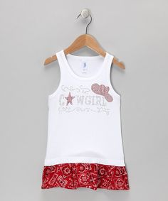 Take a look at this Red & White Cowgirl Bandanna Tunic - Infant, Toddler & Girls by Rivera-Company on #zulily today!