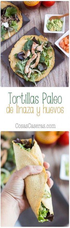 Estas tortillas paleo de linaza y huevos son flexibles fáciles de hacer y son Düşük karbonhidrat yemekleri Paleo Recipes, Mexican Food Recipes, Low Carb Recipes, Real Food Recipes, Cooking Recipes, Paleo Tortillas, Comida Keto, Healthy Snacks, Healthy Eating