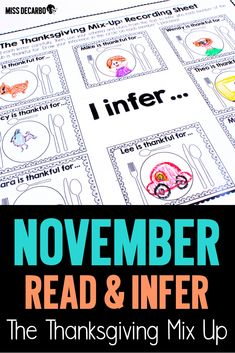 A fun and meaningful way to practice inference skills for primary learners! In this November Read and Infer edition, your students will use their own schema and clues from the text to help the Lunch Bunch Club solve a big problem. They'll build important literacy skills as they infer, draw conclusions, make predictions, write about their reading and reasoning, and think critically. #literacy #reading #readingstrategies #comprehension #missdecarbo #literacyideas #ela