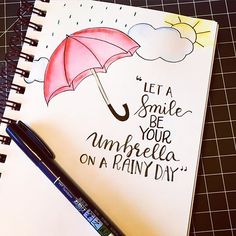 "Pretty quote with some draws ""let a smile be your umbrella on a rainy day☀️☔️ ᗩᑎOᑌK"
