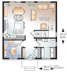 Bon prix pour maison contemporaine avec 3 chambres et bureau fermé (plan no. 3713) #maisondelasemaine  Accédez au deuxième étage & à l'extérieur par ici :  http://www.dessinsdrummond.com/detail-plan-de-maison/info/1003151.html  Achetez ce modèle à partir de 755$ seulement !  #MaisonAbordable #MaisonContemporaineAbordable #ContemporaineAbordable #EuropéenneAbordable #CottageEuropéen