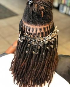 Faux locs is a hairstyle similar to box braids whereas faux locs are intended to be a permanent extension of your hair. Faux locs are installed by twisting or braiding the real hair and then wrapping additional hair around the shaft of the braid. Dreadlock Styles, Dreads Styles, Curly Hair Styles, Natural Dreads, Natural Hair Care, Natural Hair Styles, Long Dreads, Short Locs Hairstyles, Black Hairstyles