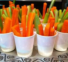 carrot sticks in cups with ranch. (Bugs Bunny carrot sticks)
