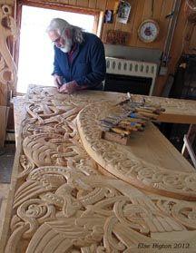 Phil carving portal; Phillip Odden. Norway