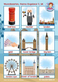 Woordkaarten Engeland UK 2, kleuteridee, free printable Learn Dutch, Learn English, Geography Activities, Activities For Kids, Primary English, Dutch Language, Country Crafts, London Eye, English Lessons