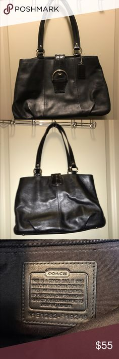 """Coach Leather Purse Soft Leather with Patent Leather Buckle-9"""" x 14""""-Strap to end 18""""-Leather is in good condition-one small scratch on the front as shown in picture-one other leather blemish-inside pockets for phone-one large divider pocket Coach Bags"""