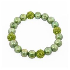 "Honora 7.25""-7.5"" Sterling Silver Pistachio Round Ringed Freshwater Cultured Pearl and Pave Crystal Bead Stretch Bracelet #pearls #jewelry #green"