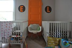 What a great decor idea - love this pop of orange in the #nursery!