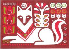 Marimekko & Sanna Annukka Card What does the fox say? Illustrations, Graphic Illustration, Scandinavian Folk Art, Marimekko, Decoration, Folklore, Screen Printing, Art Drawings, Print Patterns