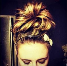 Messy bun with bow. I Love big messy buns, on the top of your head! So cute!