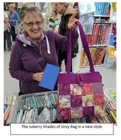 One of our customers at Malvern with her version of the Shades of Grey bag! Shades Of Grey, Dressmaking, Diaper Bag, Fabric, Cotton, Crafts, Bags, Fashion, Sew Dress
