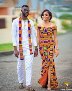 kente Dress 2018 Hello beautiful ladies, Today, we will be appreciating the latest Ghana Kente styles rocked by our fellow women over in the Gold coast. Couples African Outfits, Couple Outfits, African Attire, African Wear, African Women, African Print Dresses, African Fashion Dresses, African Dress, Nigerian Fashion