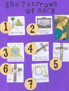 The Seven Sorrows of Mary notebooking page - This is an interesting way to present many concepts, e. Church precepts, Corporal and Spiritual Works of Mercy, Mysteries of the Rosary, etc. Catholic Crafts, Catholic Kids, Catholic School, 7 Sorrows Of Mary, Our Lady Of Sorrows, Teaching Religion, Religious Education, Catechism, Little Flowers