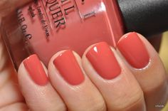 Love this... kind of a coral colour. On the wish list. OPI Baguette Me Not