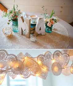 Decoración sencilla para bodas con blondas de papel Wedding Engagement, Diy Wedding, Wedding Flowers, Fiesta Decorations, Wedding Decorations, Event Planning, Wedding Planning, Paper Mache Letters, Wedding Planer