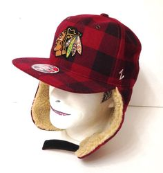 40 CHICAGO BLACKHAWKS WINTER TRAPPER HAT Plaid WOOL Ear Flap Mens FITTED  7-1 4 ca1f09ecf343