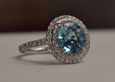 Tiffany aquamarine with double halo- tried this on.....fell in love <3