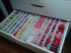 Ribbon Storage and this site has great ideas for convenient storage