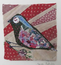 Bird. Unframed applique  with embroidery on to by MandyPattullo,