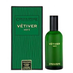 Vetiver Vert Cologne Spray 100ml by Czech and Speake // Vetiver vert opens with rich and sophisticated citrus top notes of bergamot and mandarin. Focused by green and balsamic middle notes, laurel and galbanum cause the scent to be long lasting, completed by sweet and woody base notes of vetiver and sandalwood. Top Note: Mandarin, Bergamot Middle Note: Laurel, Galbanum Base Note: Haitian Vetiver, Sandalwood