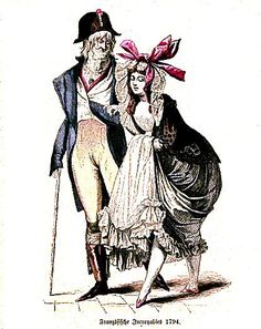 Incroyables:unto con los Marveillese, en el período de Transición o Directorio (1770 - 1780) en Francia, se encargaron de imponer una moda estrafalaria; las mujeres llevaban túnicas grecorromanas y en los hombres se empezo a imponer el empleo del corset.
